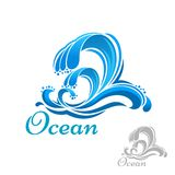 Sea wave or surf symbol Royalty Free Stock Photos