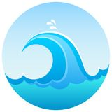 Sea wave symbol. Blue sea wave rising high Stock Photography