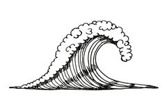 Sea wave. vector illustration hand drawing. Isolated Stock Image