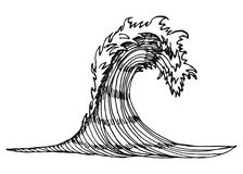 Sea wave. vector illustration hand drawing. Isolated Royalty Free Stock Photography