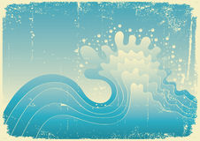 Sea wave. Vintage  illustration of sea Royalty Free Stock Images