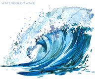 Sea wave watercolor illustration. Watercolor water waves isolated on white vector illustration
