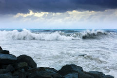 Sea wave  in windy day Stock Photos