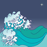 Sea waves. Background with sea waves in japanese style and place for your text Stock Photos