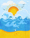Sea Waves Abstract Background. With sun in clouds seagulls and sandy beach flat vector illustration royalty free illustration