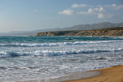 Sea waves in bay on coast of Cyprus Royalty Free Stock Photos