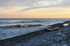 Sea waves on the beach in evening Royalty Free Stock Images
