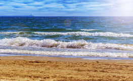 Sea waves and beach scene Stock Photo