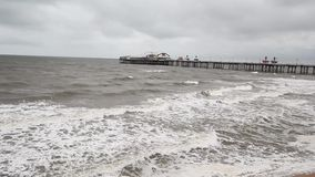 Sea waves in Blackpool Beach, Lancashire, England. Sea waves in Blackpool Beach in England, United Kingdom stock footage