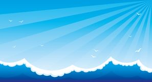 Sea waves and blue sky. Sea waves and blue sky with birds royalty free illustration