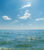 Sea with waves and blue sky Royalty Free Stock Image