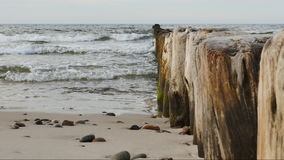 Sea waves breaking on the breakwater on the Baltic Sea stock video