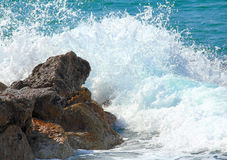 Sea waves breaking on rocks Royalty Free Stock Photo