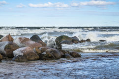 Sea waves breaking on the rocks Stock Images