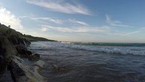 Sea waves breaking stock video footage