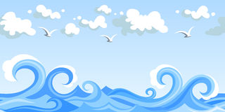 Sea waves and clouds. horizontal seamless landscap. Illustration of horizontal seamless landscape with sea waves, sky with clouds and gulls Stock Photography