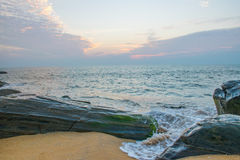 Sea waves during sunset in the evening  Royalty Free Stock Photography