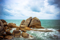 Sea waves crashing against the rocks, Koh Samui Royalty Free Stock Photo