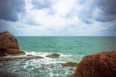 Sea waves crashing against the rocks, Koh Samui Stock Images
