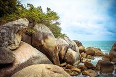 Sea waves crashing against the rocks, Koh Samui Stock Image