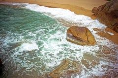 Sea waves crashing against the rocks, Koh Samui Stock Photo