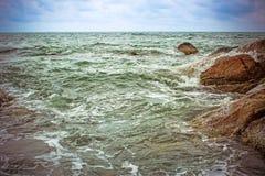 Sea waves crashing against the rocks, Koh Samui Royalty Free Stock Image