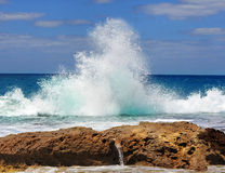 Sea waves crashing against the rocks. Tantura nature reserve, northern Israel Royalty Free Stock Image