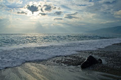 Sea with waves and dark sky. With clouds Stock Images