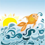 Sea waves and fish. Illustration background Stock Photos
