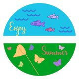 Sea, waves, fish, grass, net, butterflies. Summer rest. Template for design, print vector illustration