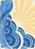 Sea waves. Grunge royalty free illustration