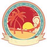 Sea waves and island. stock illustration