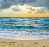 Sea waves in Miami with cloudy sky Royalty Free Stock Image