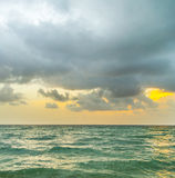 Sea waves in Miami witzh cloudy sky Stock Photo