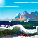 Sea with waves and mountains. Day sea with waves and mountains. storm on the sea Stock Images