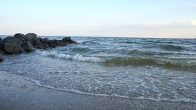 Sea Waves over Sand Beach Holiday Background Royalty Free Stock Photo