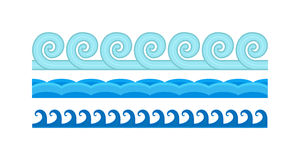Sea waves pattern set horizontally ocean abstract element nature flat vector illustration. Royalty Free Stock Photos