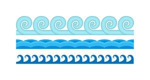 Sea waves pattern set horizontally ocean abstract element nature flat vector illustration. Royalty Free Stock Photos