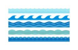 Sea waves pattern set horizontally ocean abstract element nature flat vector illustration. Royalty Free Stock Photography