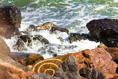 Sea, waves. And the pattern on the stone Royalty Free Stock Photo