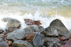 Sea waves. The picture is taken the Holiday, it represents the sea wave in the Polish sea stock images