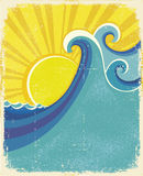 Sea waves poster. Royalty Free Stock Photos