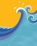 Sea waves poster. Royalty Free Stock Photo