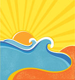 Sea waves poster. Vector Royalty Free Stock Photos