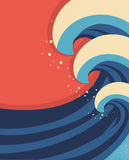 Sea waves poster.Vector Royalty Free Stock Image