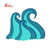 Sea waves. The raging ocean. Storm in the sea. Marine themes. Vector royalty free illustration