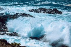 Sea Waves With Rocks royalty free stock image