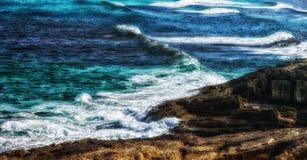 Sea waves at the rocks. Coast of Mallorca Stock Images