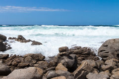 Sea with Waves and Rocks Stock Photos
