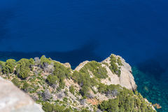 Sea waves and rocks. On the steep west coast of Mallorca Stock Photography